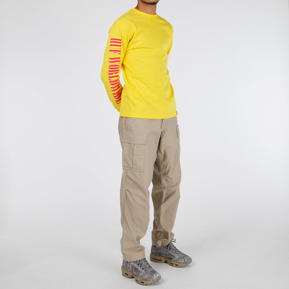 HUF Jungle TT Long Sleeve T-shirt / Yellow - Deadstock.ca