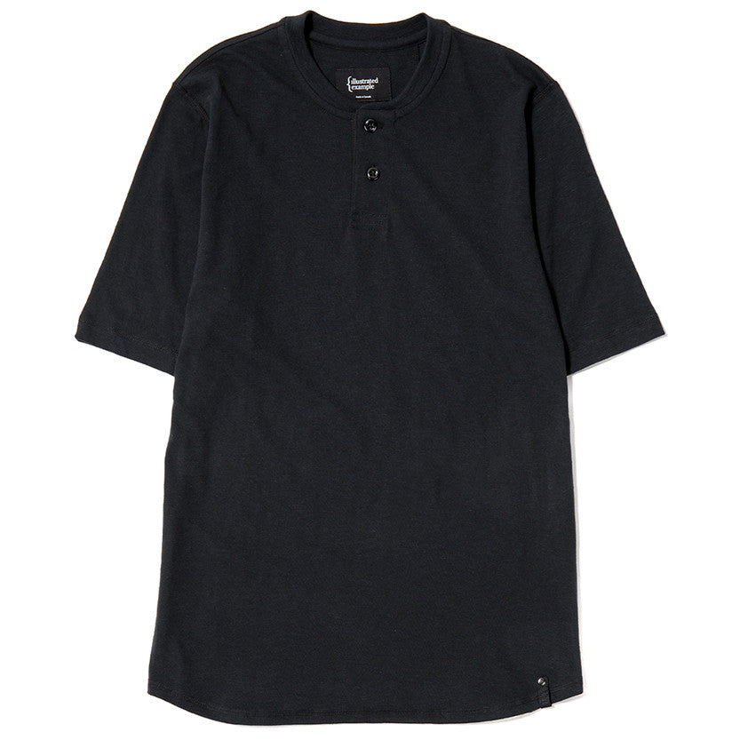 SHORT SLEEVE HENLEY T-SHIRT / BLACK SLUB