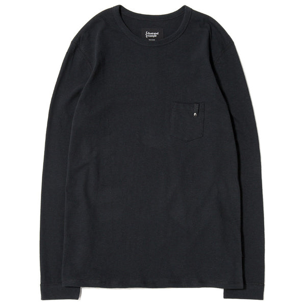 LONG SLEEVE POCKET T-SHIRT / BLACK SLUB