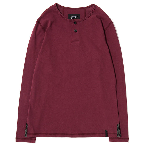 LONG SLEEVE HENLEY / BURGUNDY SUPIMA