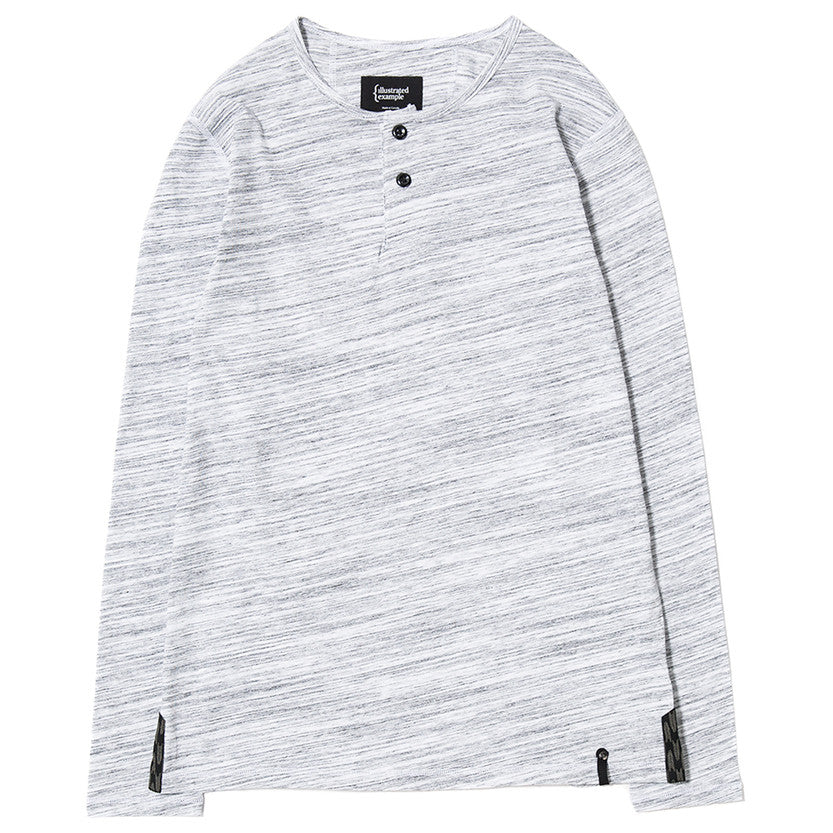 LONG SLEEVE HENLEY / WHITE MELANGE