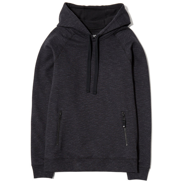 SLUB FRENCH TERRY PULLOVER HOODY / BLACK