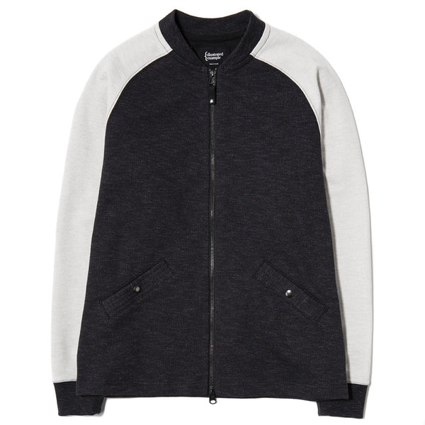 SLUB FRENCH TERRY VARSITY ZIP UP BLACK / CLOUD