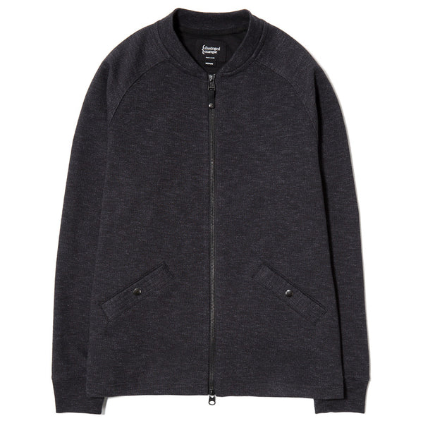 SLUB FRENCH TERRY VARSITY ZIP UP / BLACK