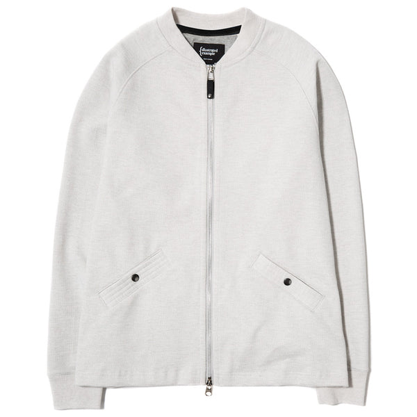 SLUB FRENCH TERRY VARSITY ZIP UP / CLOUD