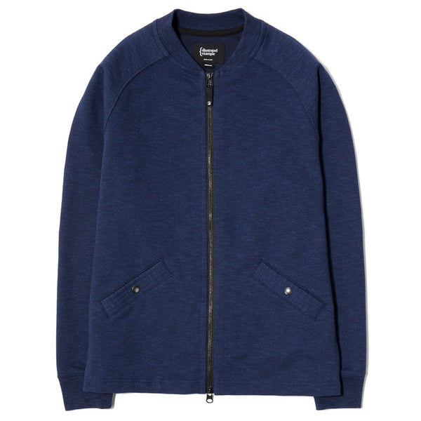 SLUB FRENCH TERRY VARSITY ZIP UP / INDIGO