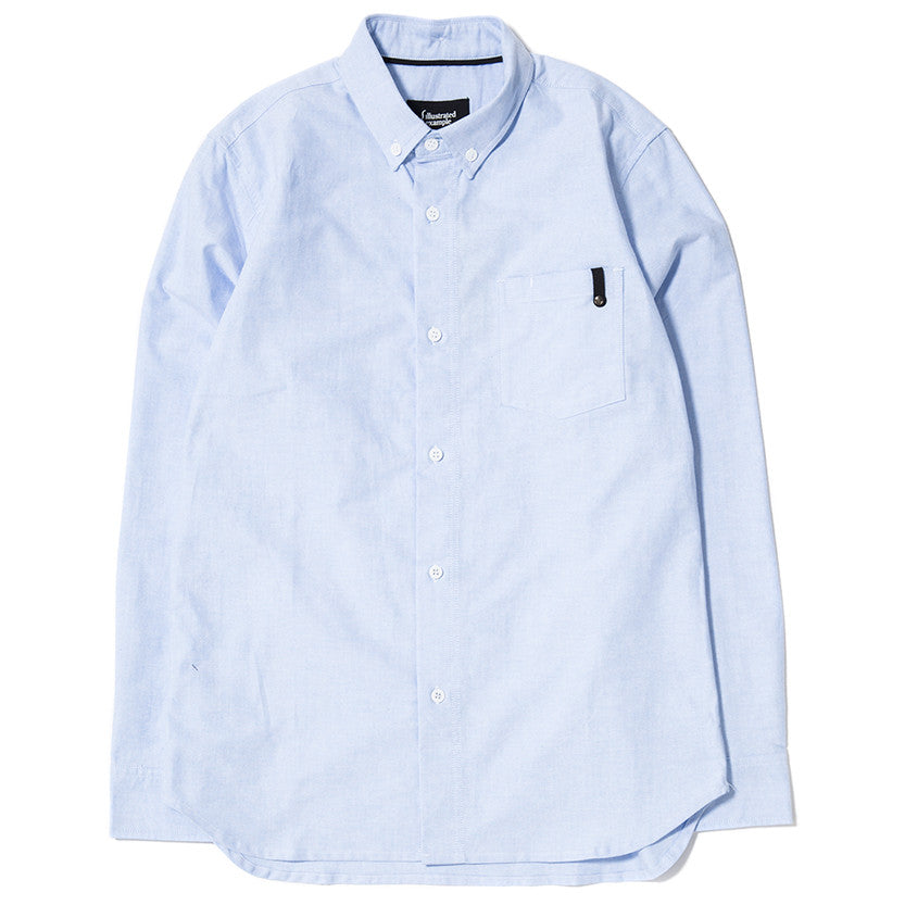 PANEL SLEEVE OXFORD SHIRT LT BLUE / WHITE