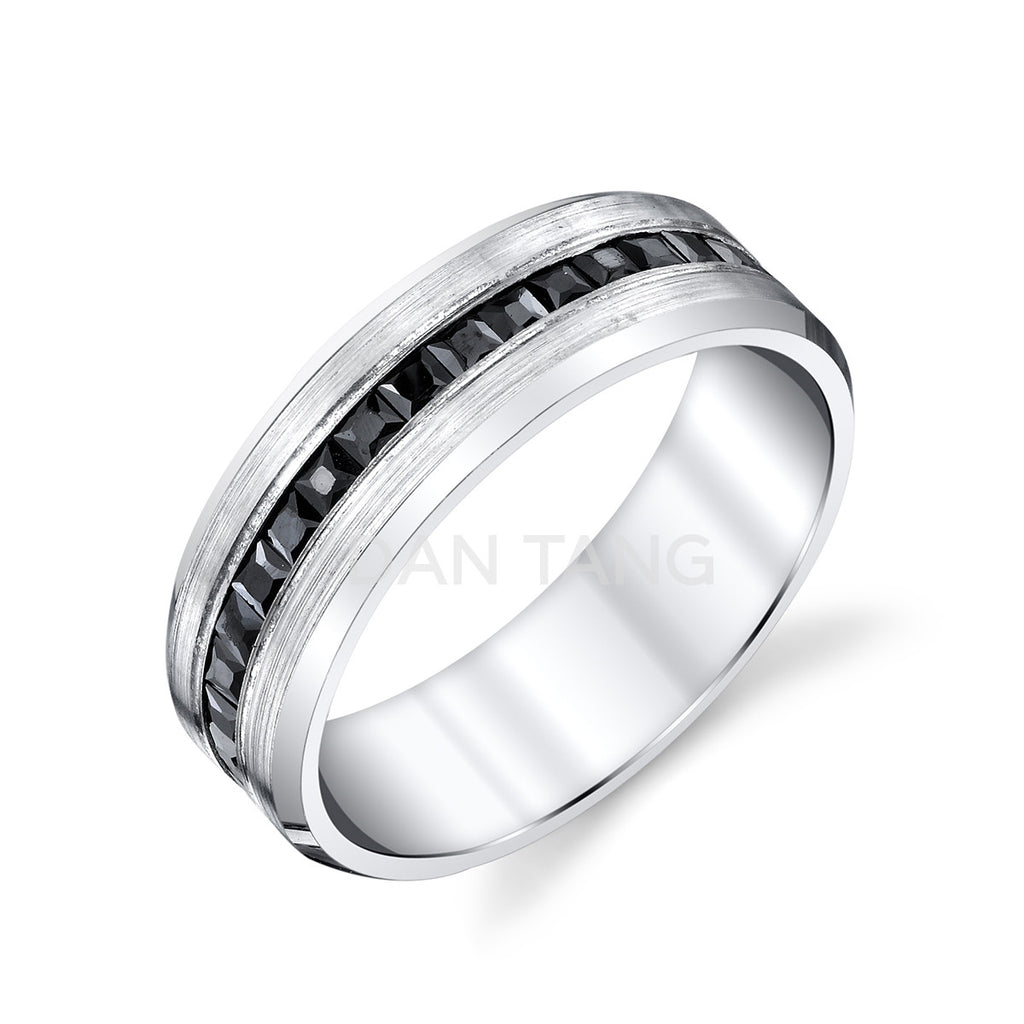 14k WHITE GOLD w/ BLACK DIAMONDS