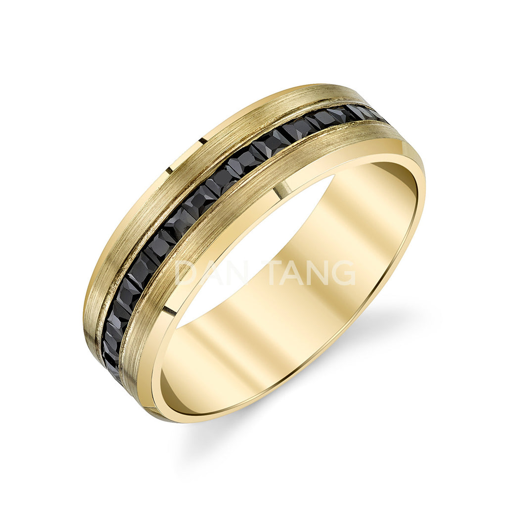 14k YELLOW GOLD w/ BLACK DIAMONDS