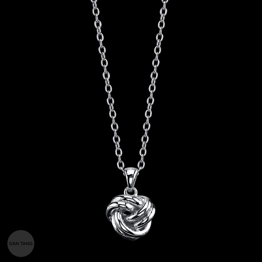 "LADIES DOUBLE ""LOVE"" KNOT NECKLACE WHITE"