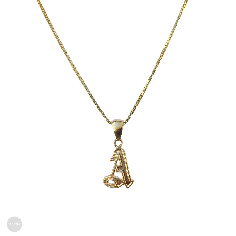 14K GOLD MICRO OLD ENGLISH LETTER PENDANT
