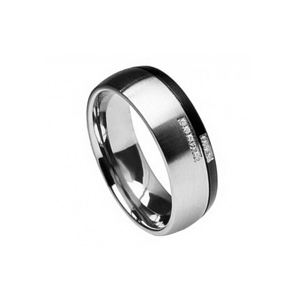 TITANIUM W/ ROUND CUT STONE 8MM RING