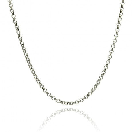 "SILVER ROLO CHAIN 24"" LENGTH 1.6MM"