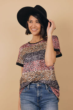 Ways Of A Woman Striped Leopard Top