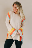 You Are Gold Striped Bell Sleeve Sweater