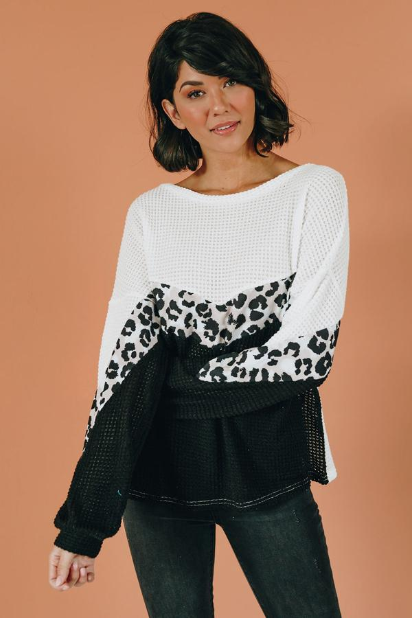 All This Time Cheetah Knit Sweater