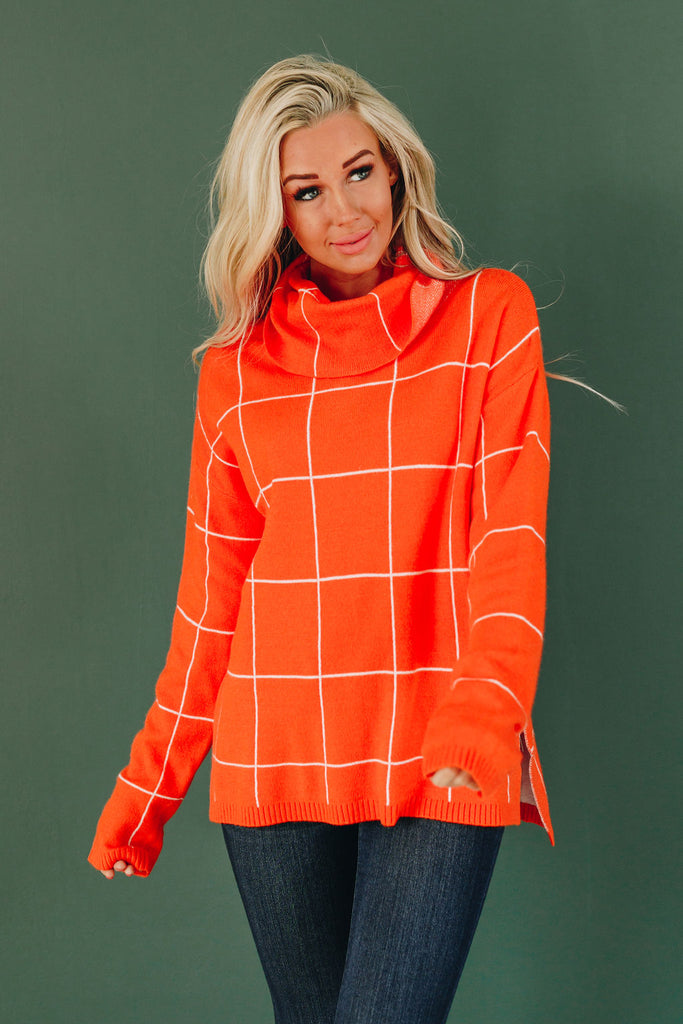 Sweet Talk Grid Turtleneck Sweater