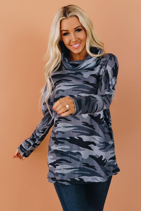 Mountain Ridge Camo Cowl Neck Top