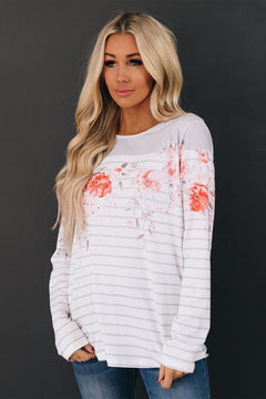 Zuri Floral Striped Long Sleeve Top