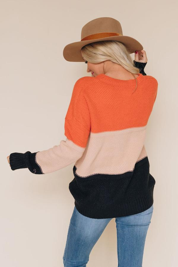 I See Double Color-Block Knit Sweater