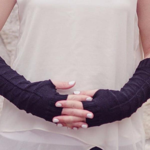 Sincere Long Cotton Graphite fingerless gloves
