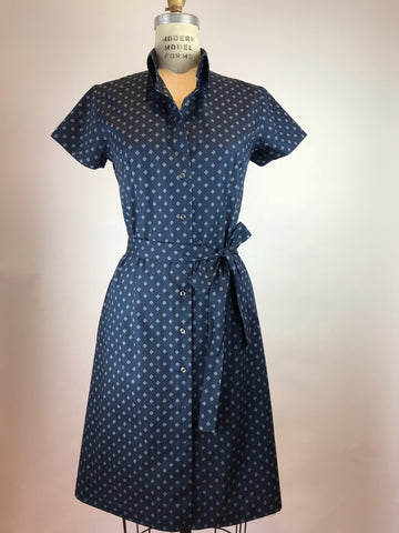 Short Sleeve Polka Dot Cotton Shirt Dress
