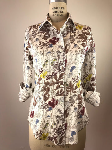 Women's Long Sleeve Garden Print Shirt