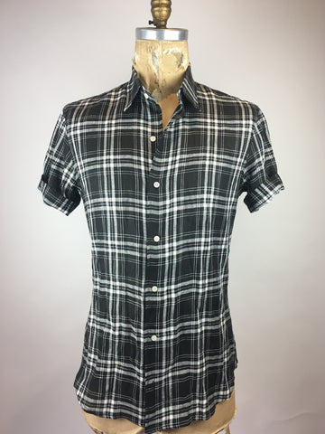 Men's Short Sleeve Black Plaid Shirt