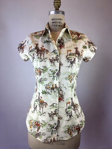 Womens's Cap Sleeve Wild West Shirt