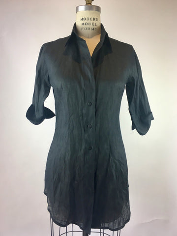 Black 3/4 Sleeve Linen Shirt