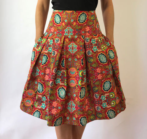 Boho Red Print Full Skirt