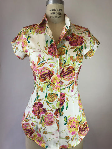 Womens's Cap Sleeve Spring Floral Shirt