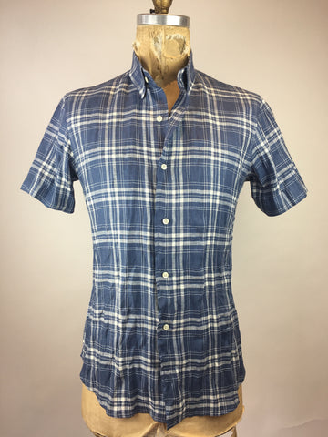 Men's Short Sleeve Blue Plaid Shirt