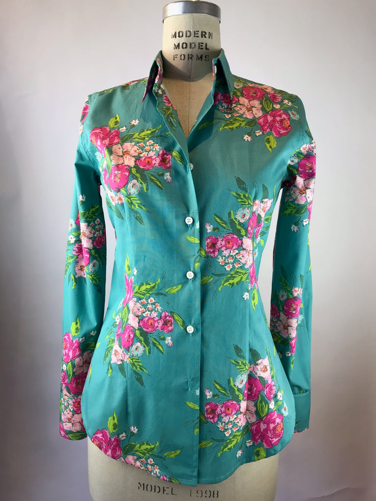 Women's Long Sleeve Jade Floral Bouquet Shirt