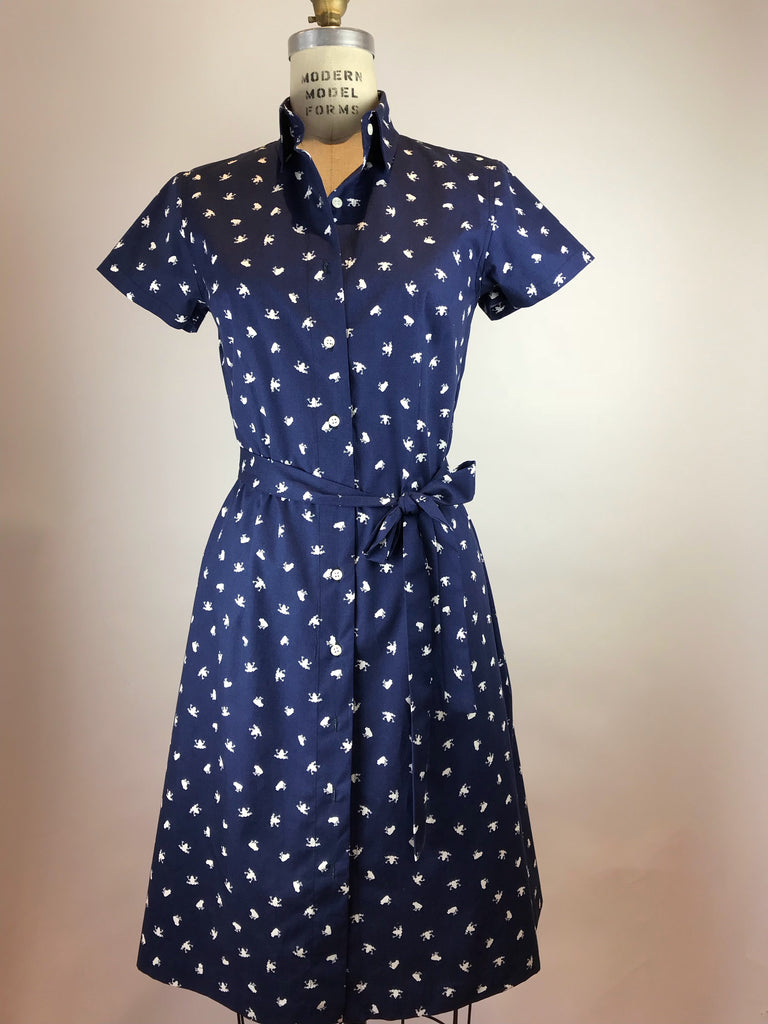 Short Sleeve Frog Cotton Shirt Dress