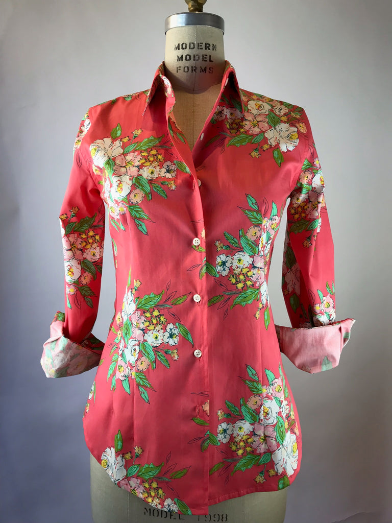 Women's Long Sleeve Coral Floral Bouquet Shirt