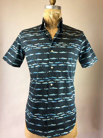 Men's Short Sleeve Navy School of Fish Shirt