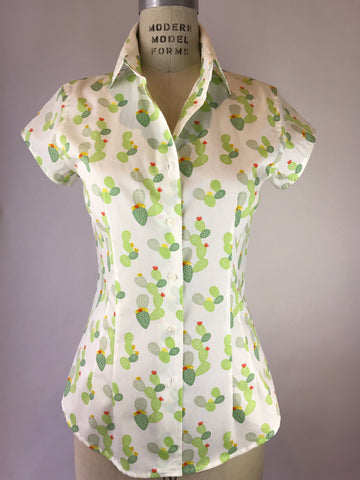 Womens's Cap Sleeve Cactus Bloom Shirt