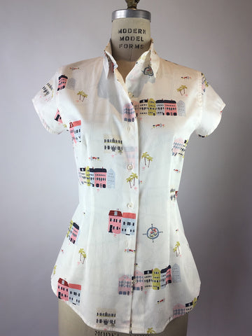 Womens's Cap Sleeve Little Town Print Shirt