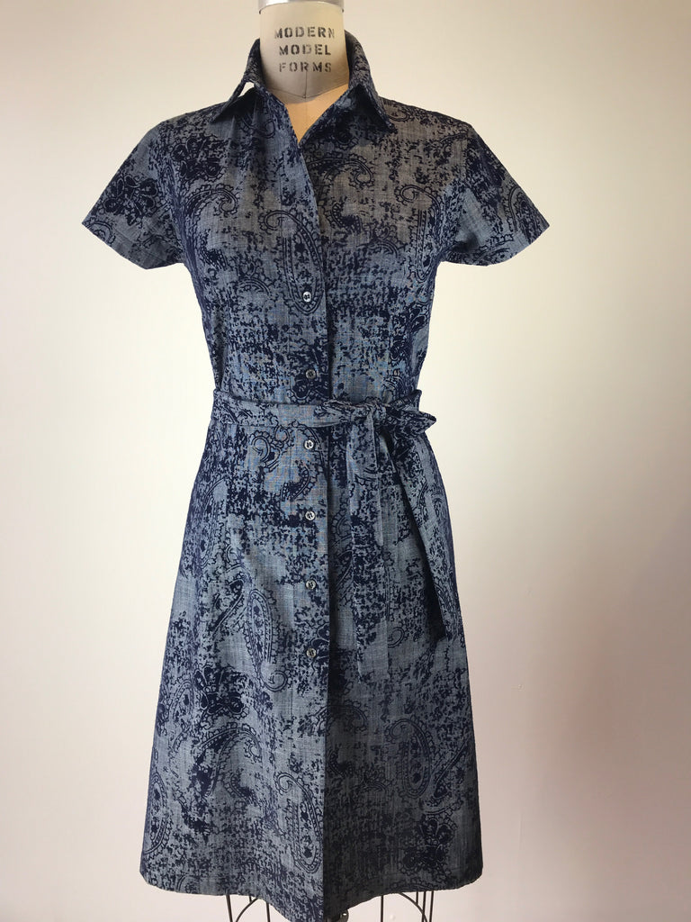 Short Sleeve Velvet Paisley Linen Shirt Dress