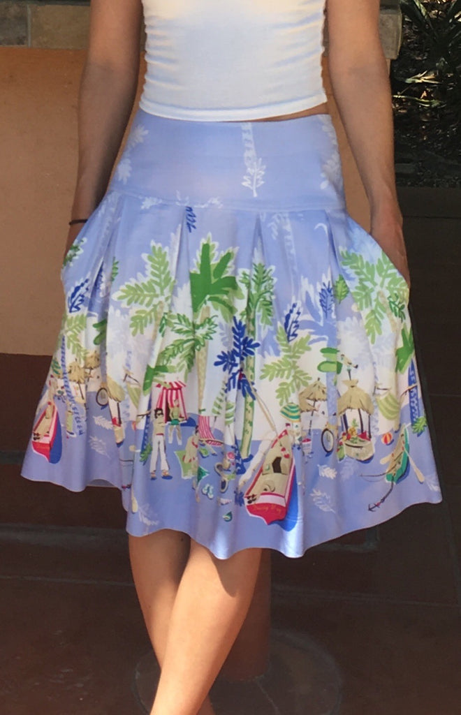 Beach Print Full Skirt