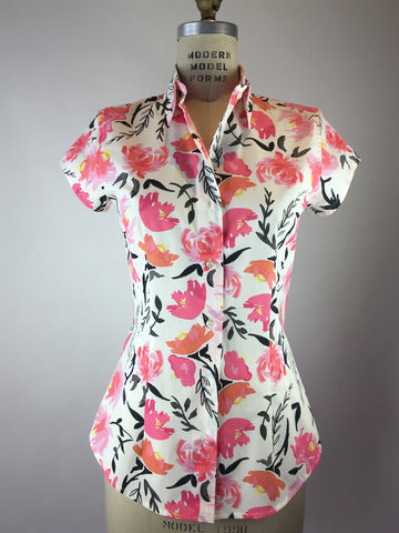 Womens's Cap Sleeve Rose Print Shirt