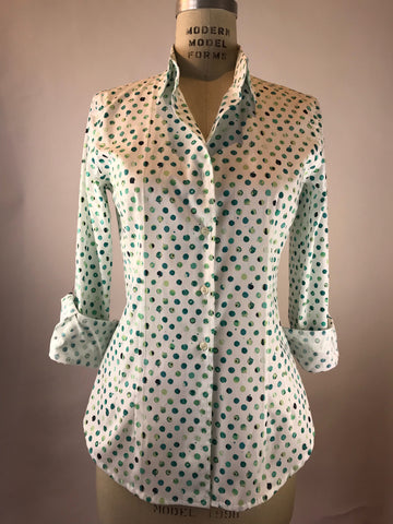 Women's Long Sleeve Jade Tile Dot Shirt