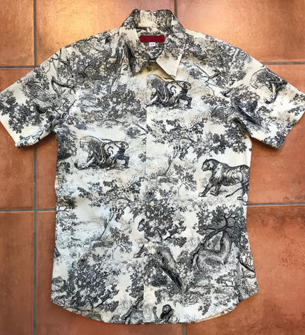 Men's Short Sleeve Jungle Toile de Jouy Shirt