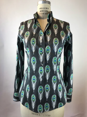 Women's Long Sleeve Peacock Feather Shirt