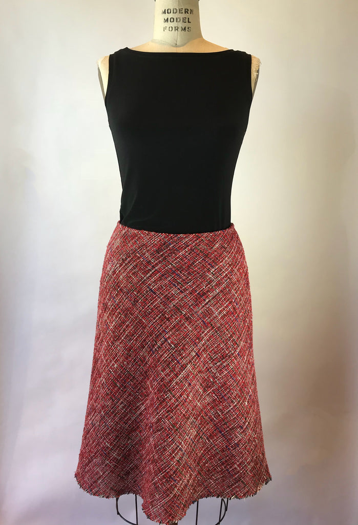 Red Mix Bias Cut Tweed Skirt