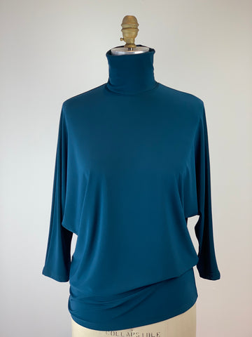 3/4 Sleeve Batwing Teal Turtleneck Jersey