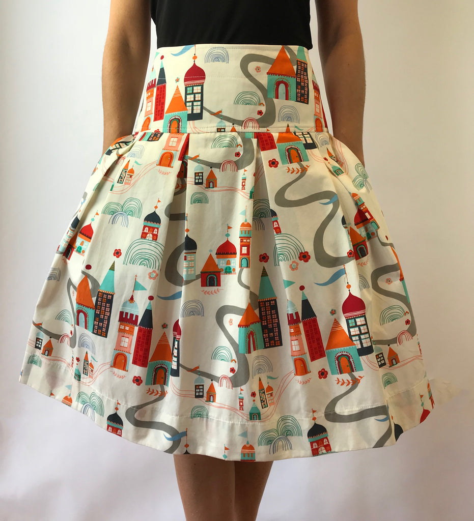 Village Meander Print Full Skirt