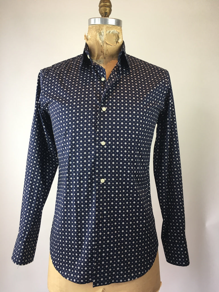 Men's Long Sleeve Small Circles and Squares Shirt