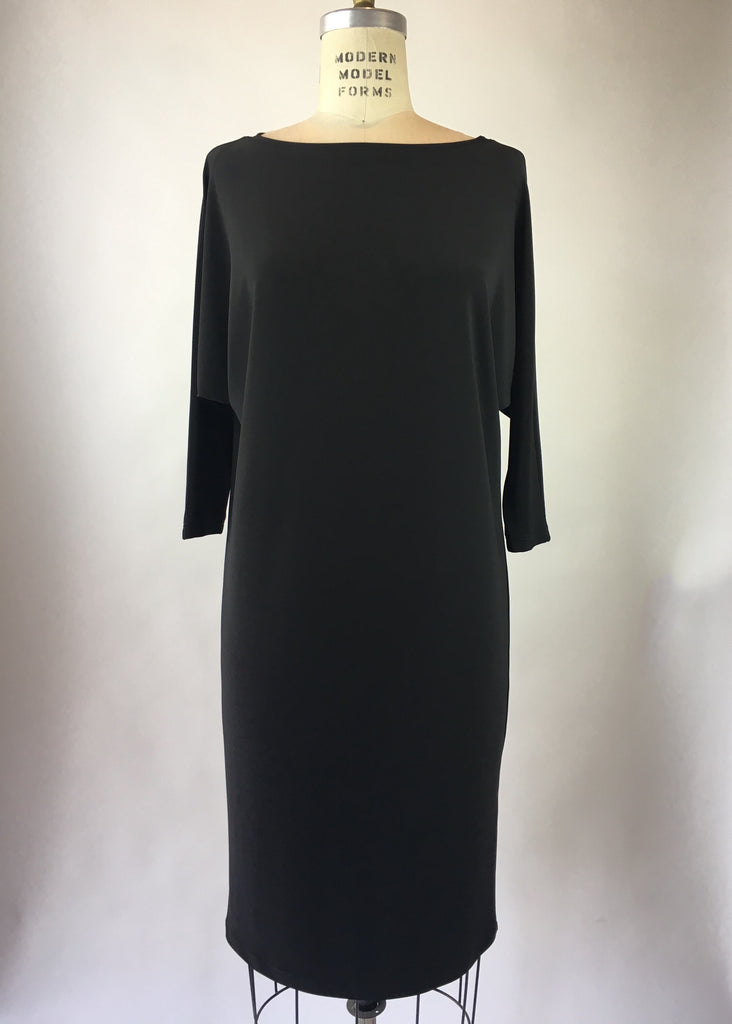 Boat Neck Drape Sleeve Jersey Dress